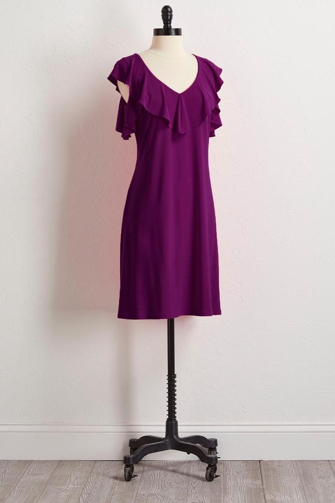 Ruffled Bare Shoulder Shift Dress