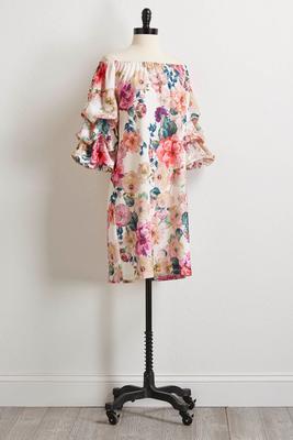 floral off the shoulder shift dress