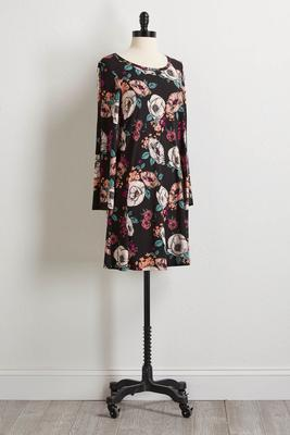 floral slit sleeve shift dress