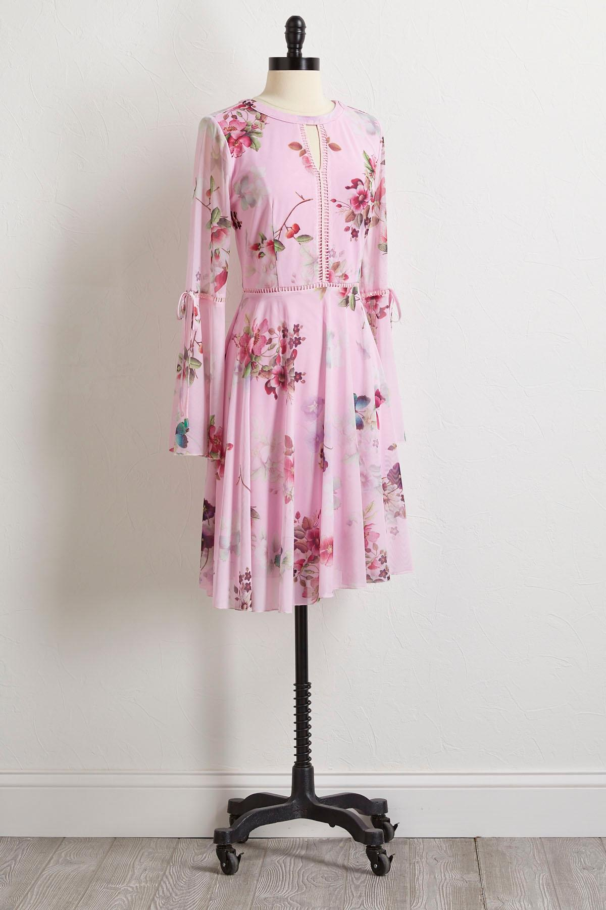 Floral Mesh Fit And Flare Dress
