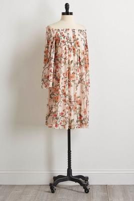 vintage floral off the shoulder dress