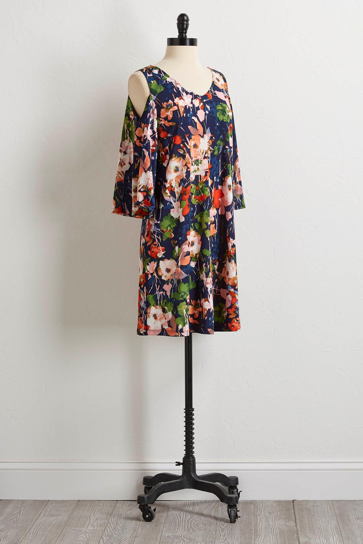 Navy And Blooms Shift Dress