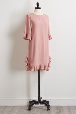 pleated ruffle trim dress