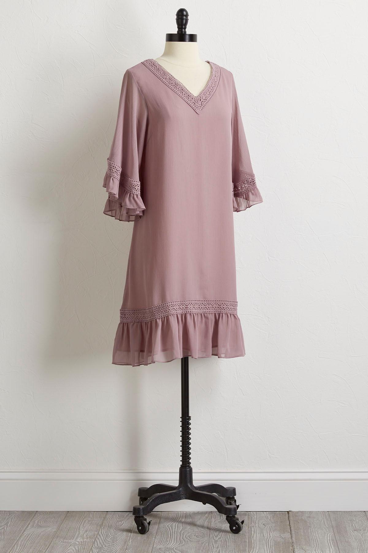 Textured Crochet Trim Shift Dress