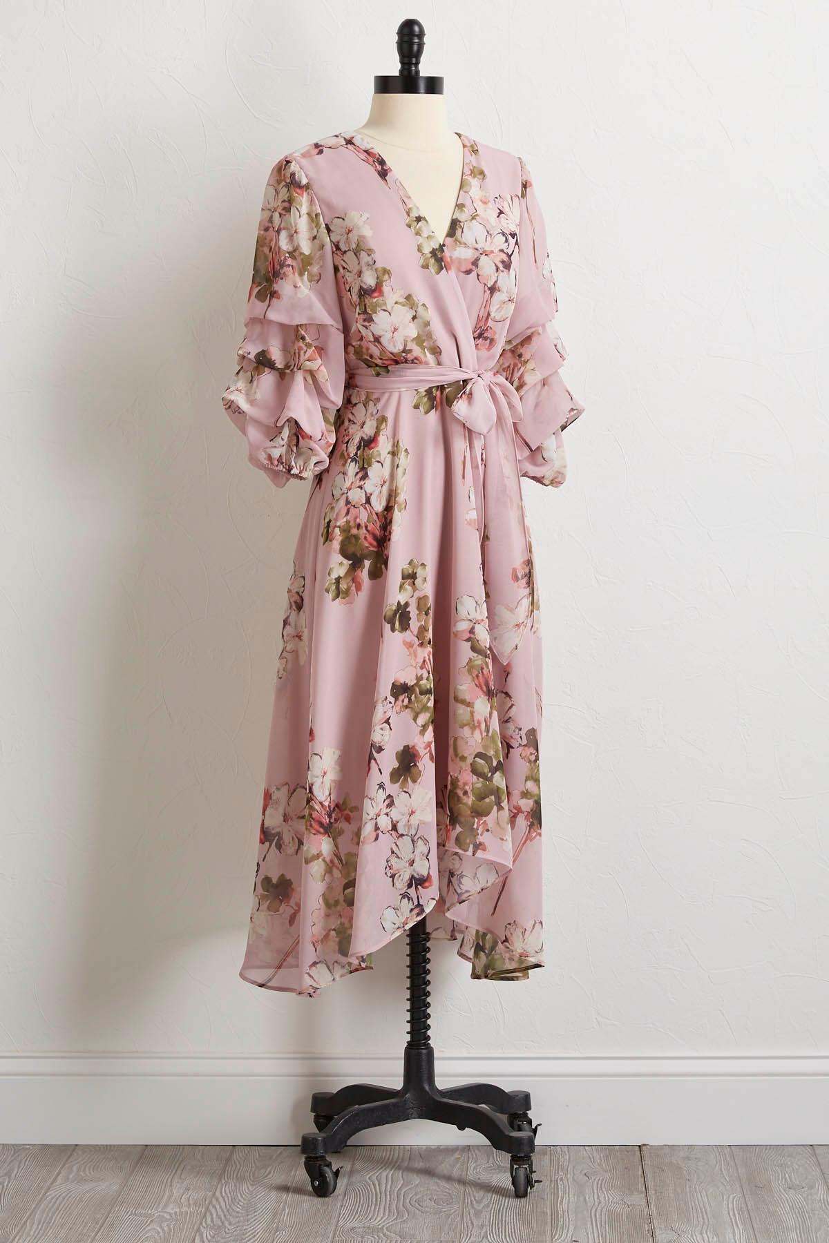 Floral High- Low Wrap Dress