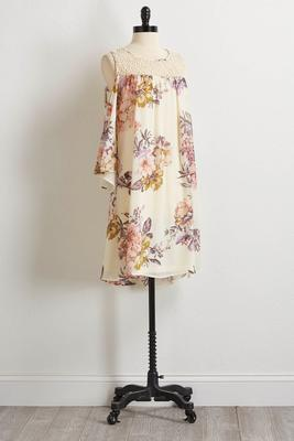 ivory floral bare shoulder shift dress