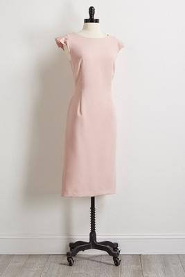 pink pleated sheath dress