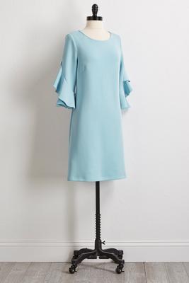 solid ruffled sleeve shift dress