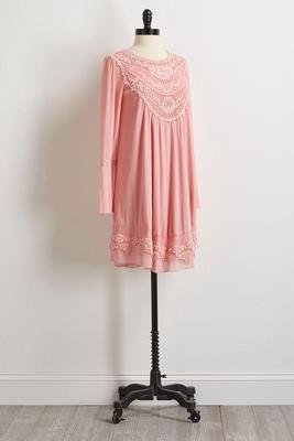 rose mesh crochet shift dress
