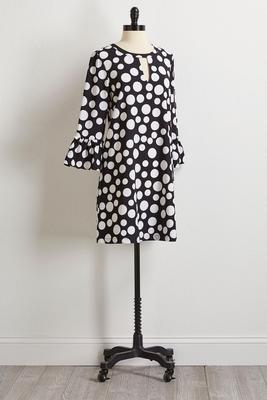 polka dot cutout shift dress