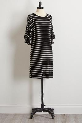 striped ruffle knit dress