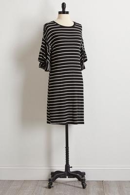 striped ruffle knit dress