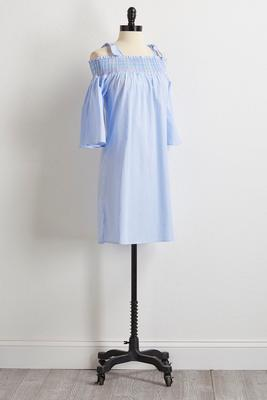 smocked bare shoulder shift dress