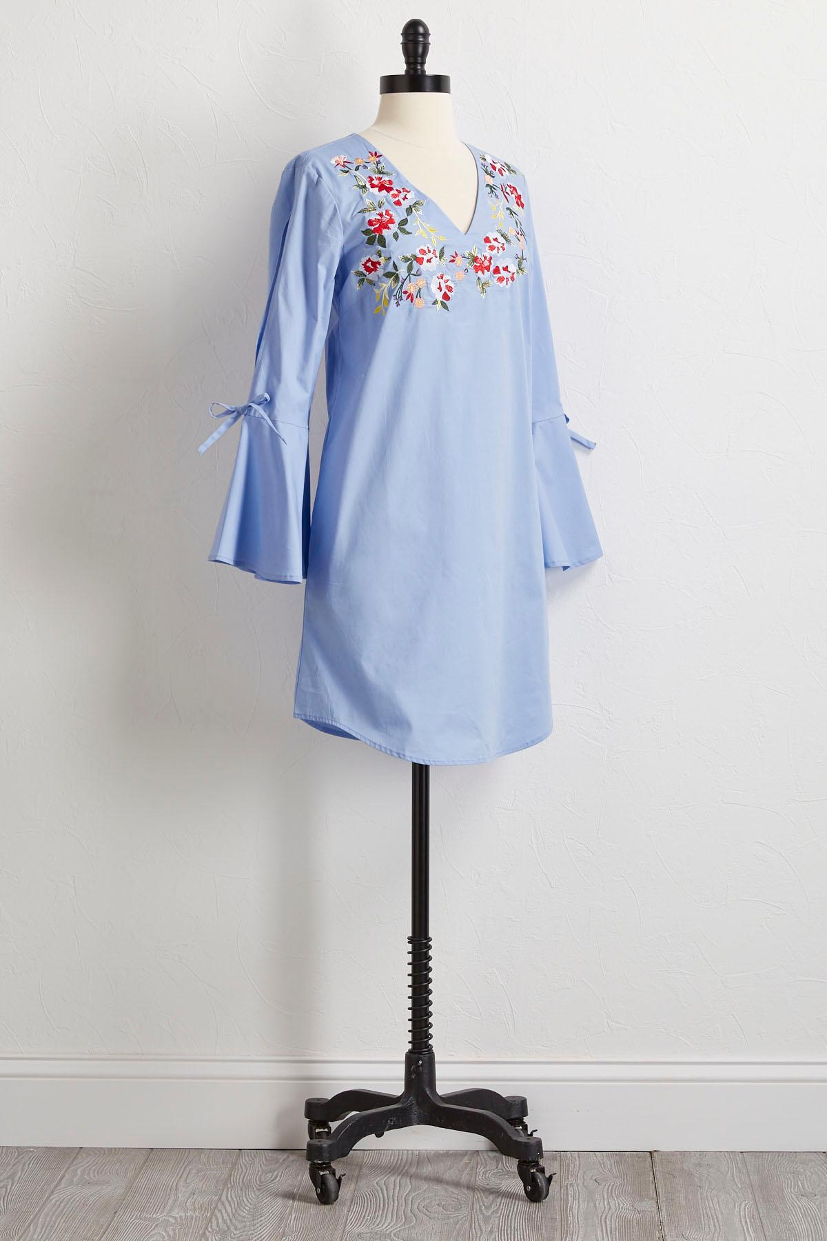 Multi Floral Embroidered Shift Dress