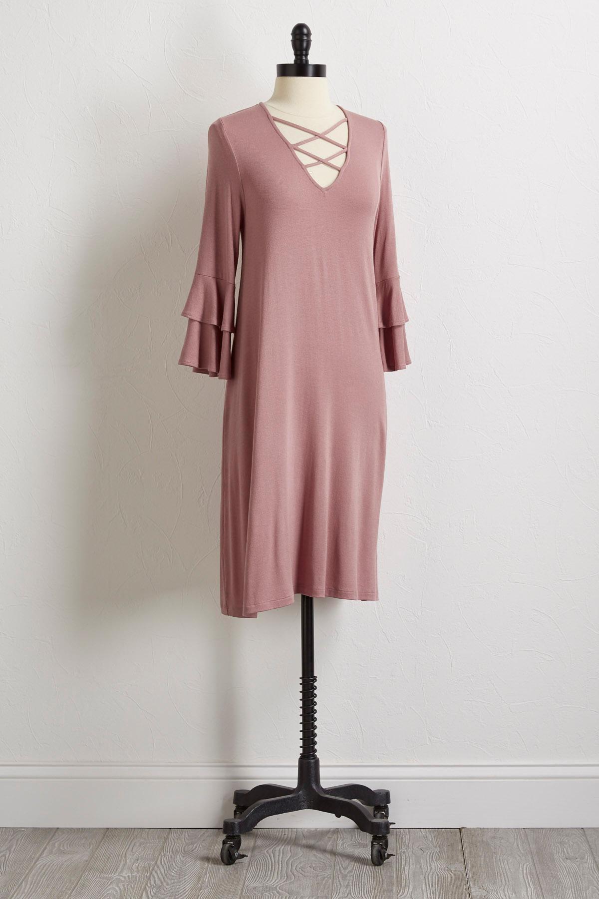 Lattice Bell Sleeve Dress