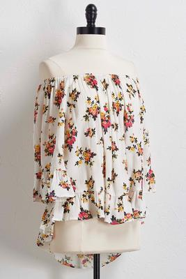 floral off the shoulder high-low top