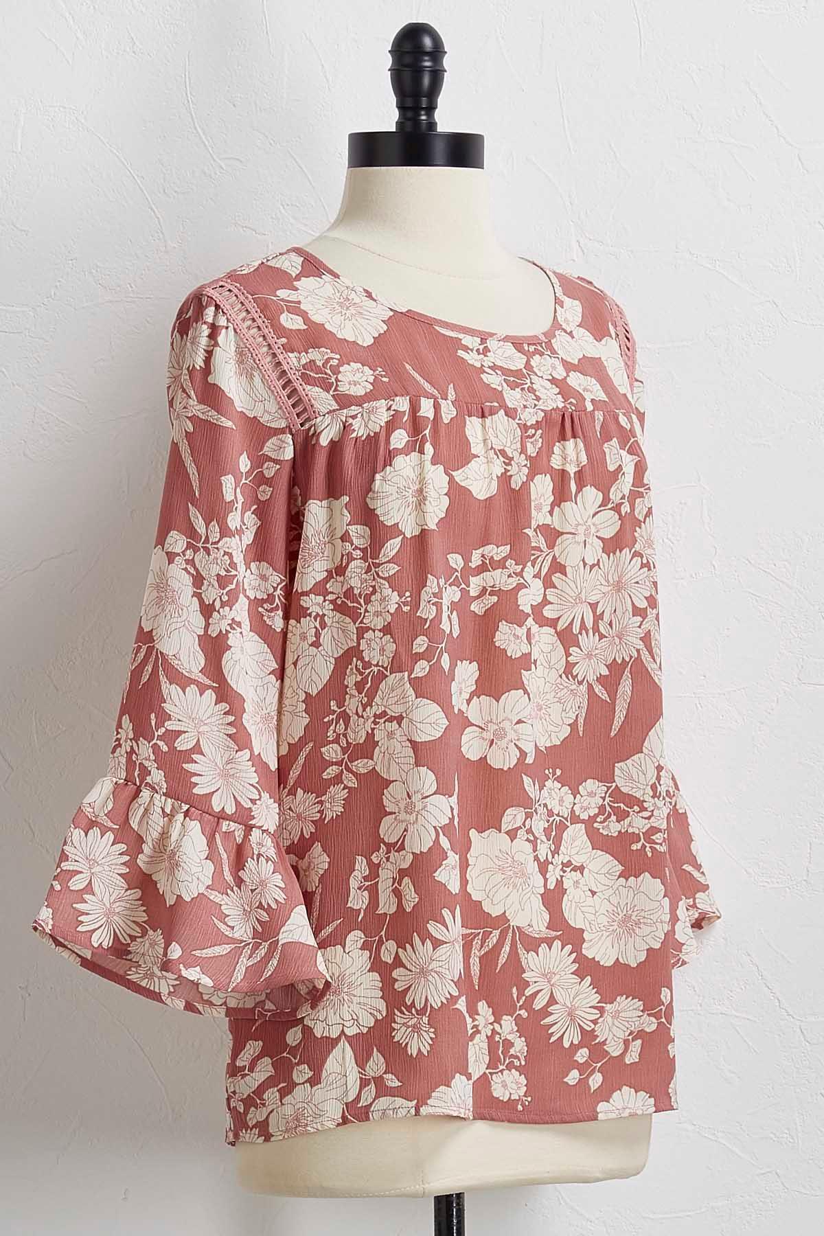 Pink Floral Peasant Top