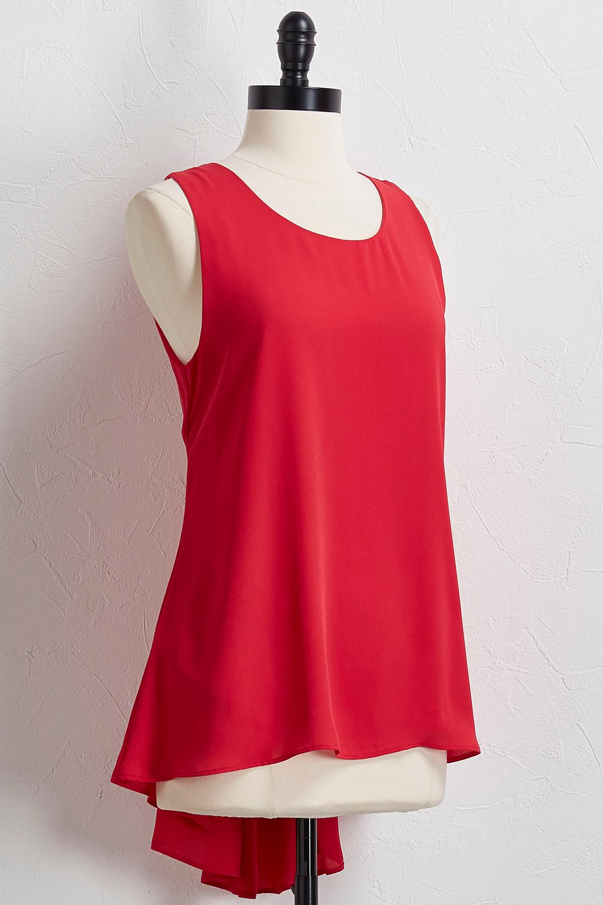 Pleated Back High- Low Tank