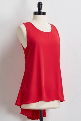 pleated back high-low tank