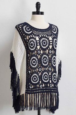 fringe knit poncho