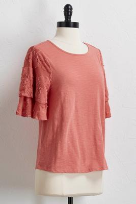 burnout flutter sleeve top
