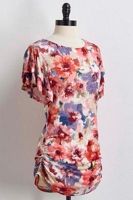watercolor floral flutter sleeve top