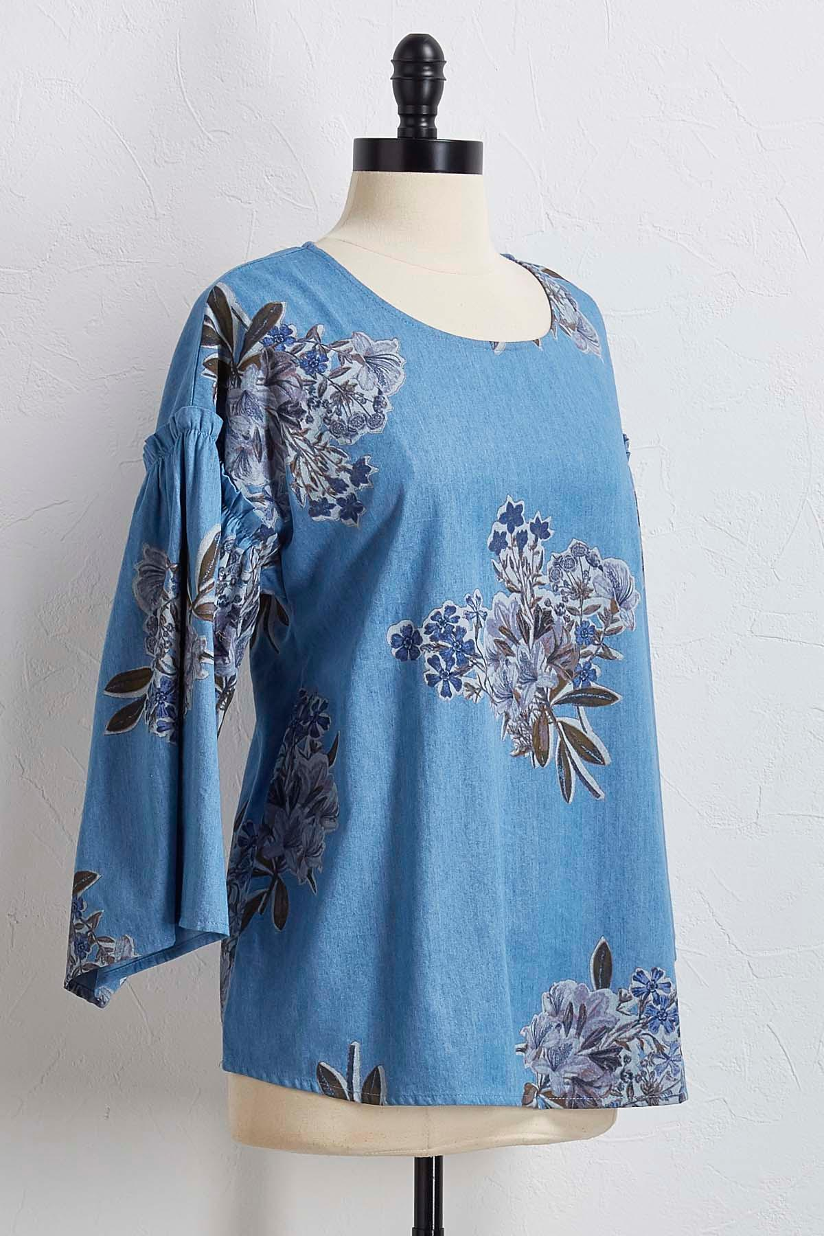 Floral Flounced Sleeve Top