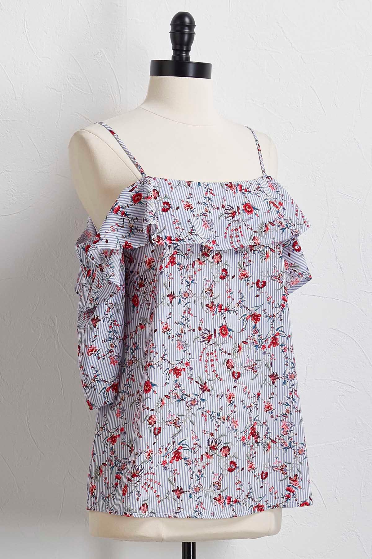 Stripe Floral Bare Shoulder Top