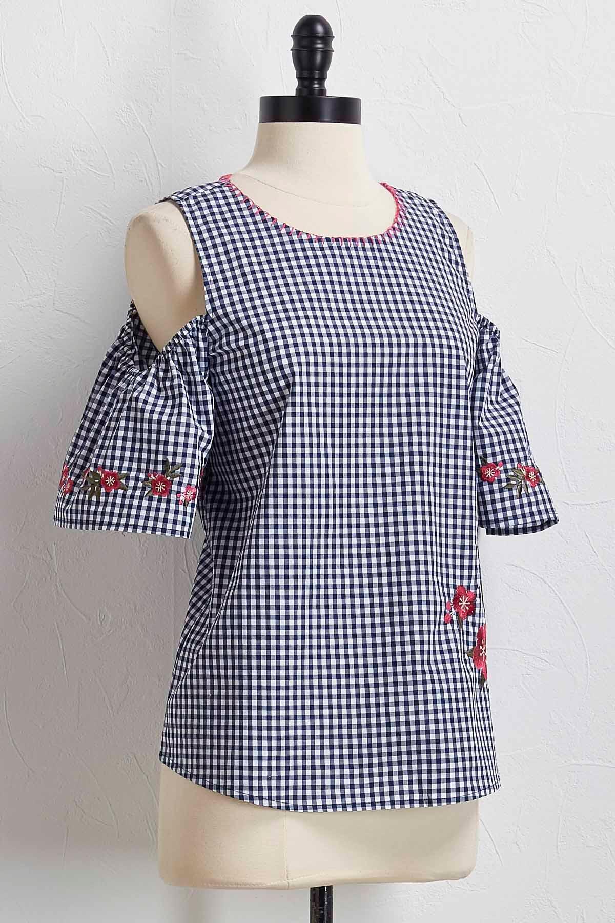 Gingham Embroidered Bare Shoulder Top