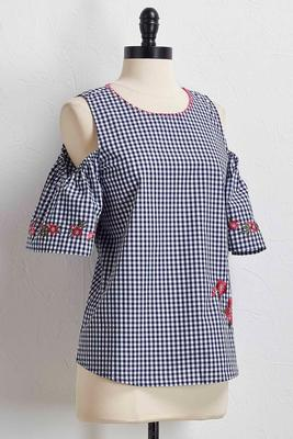 gingham embroidered bare shoulder top