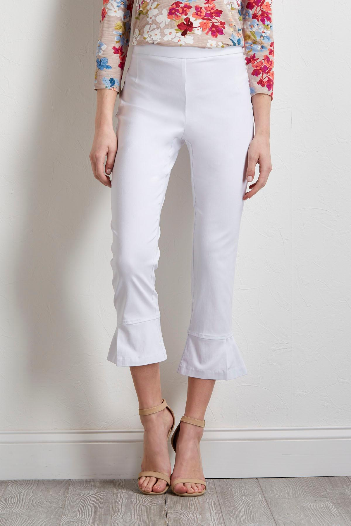 Cropped Pleated Hem Pants