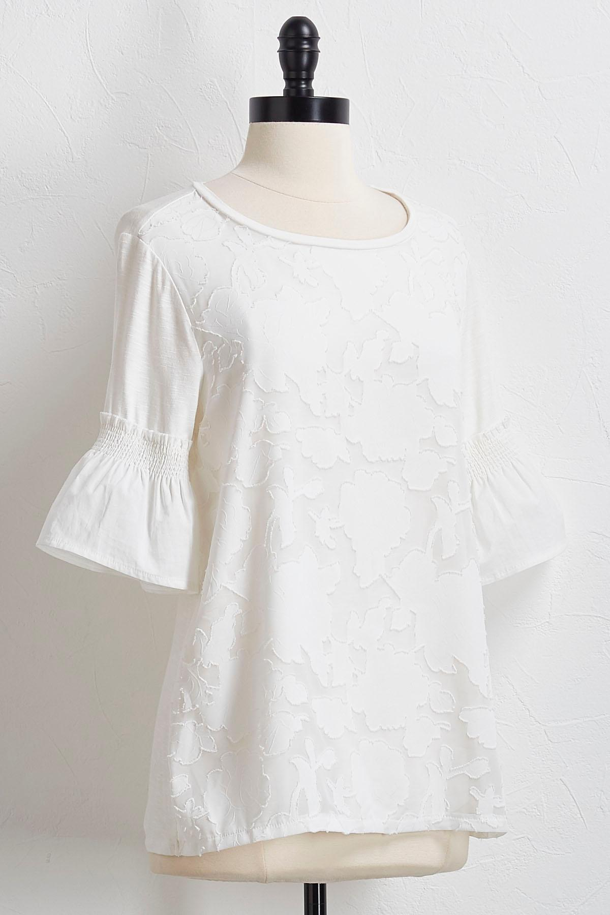 Textured Floral Smocked Sleeve Top