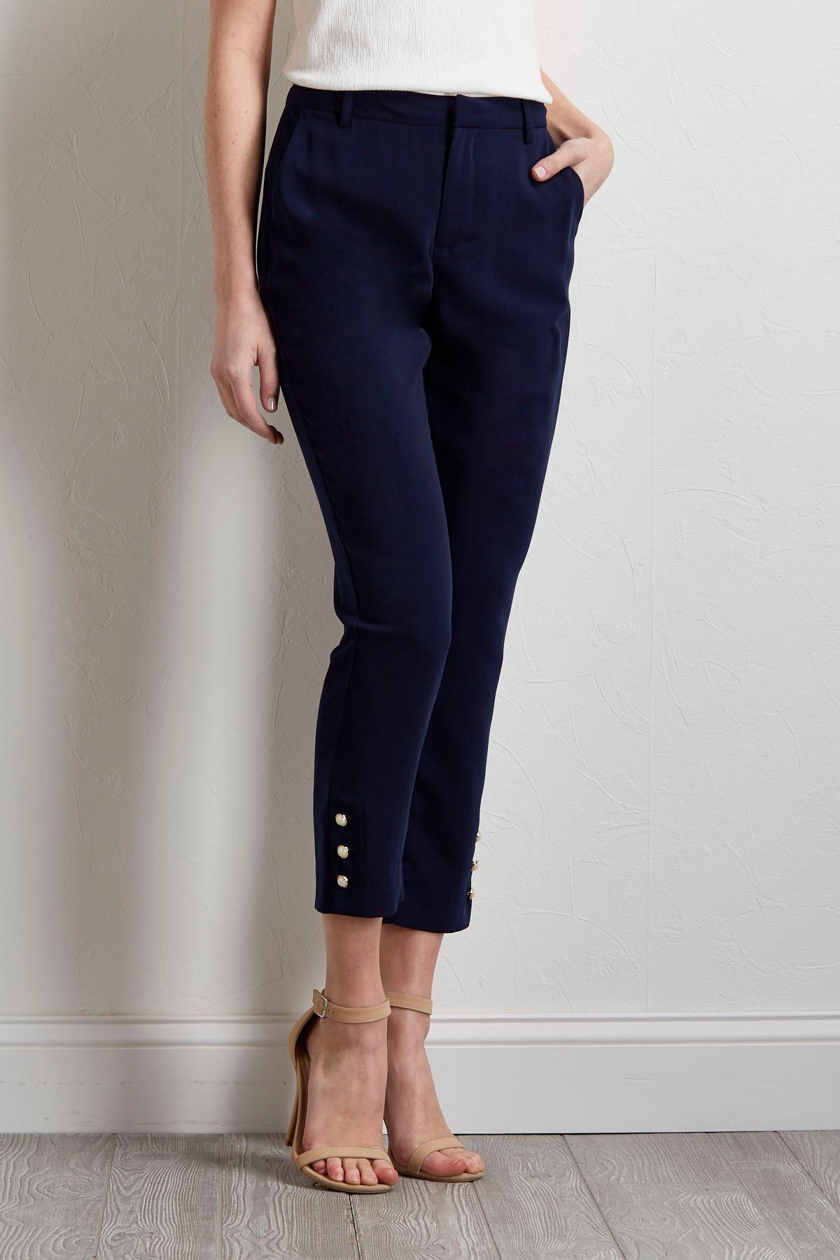 Embellished Cropped Skinny Pants