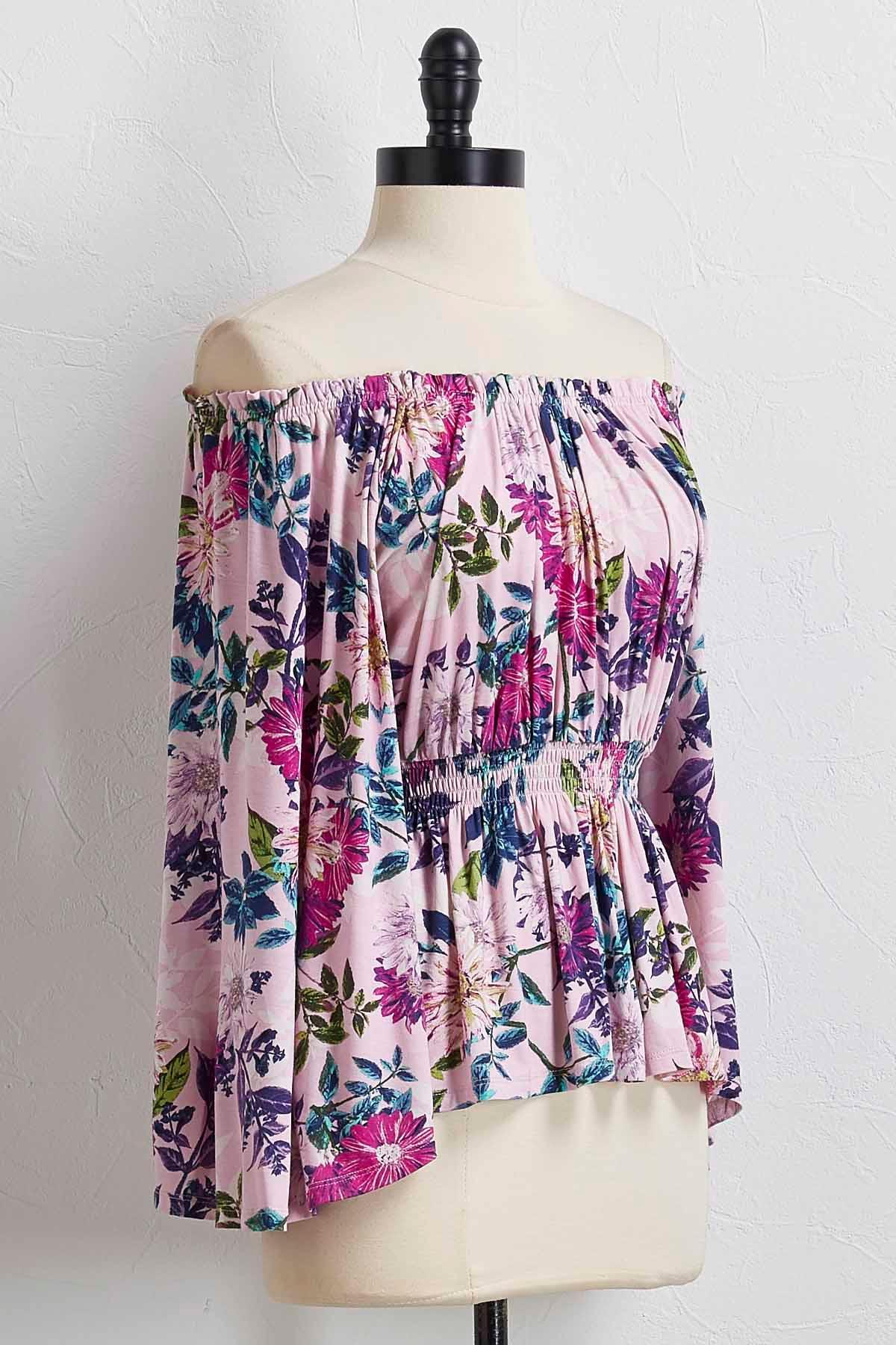 Lavender Floral Off The Shoulder Top