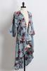 Floral Lace Inset Bare Shoulder Kimono