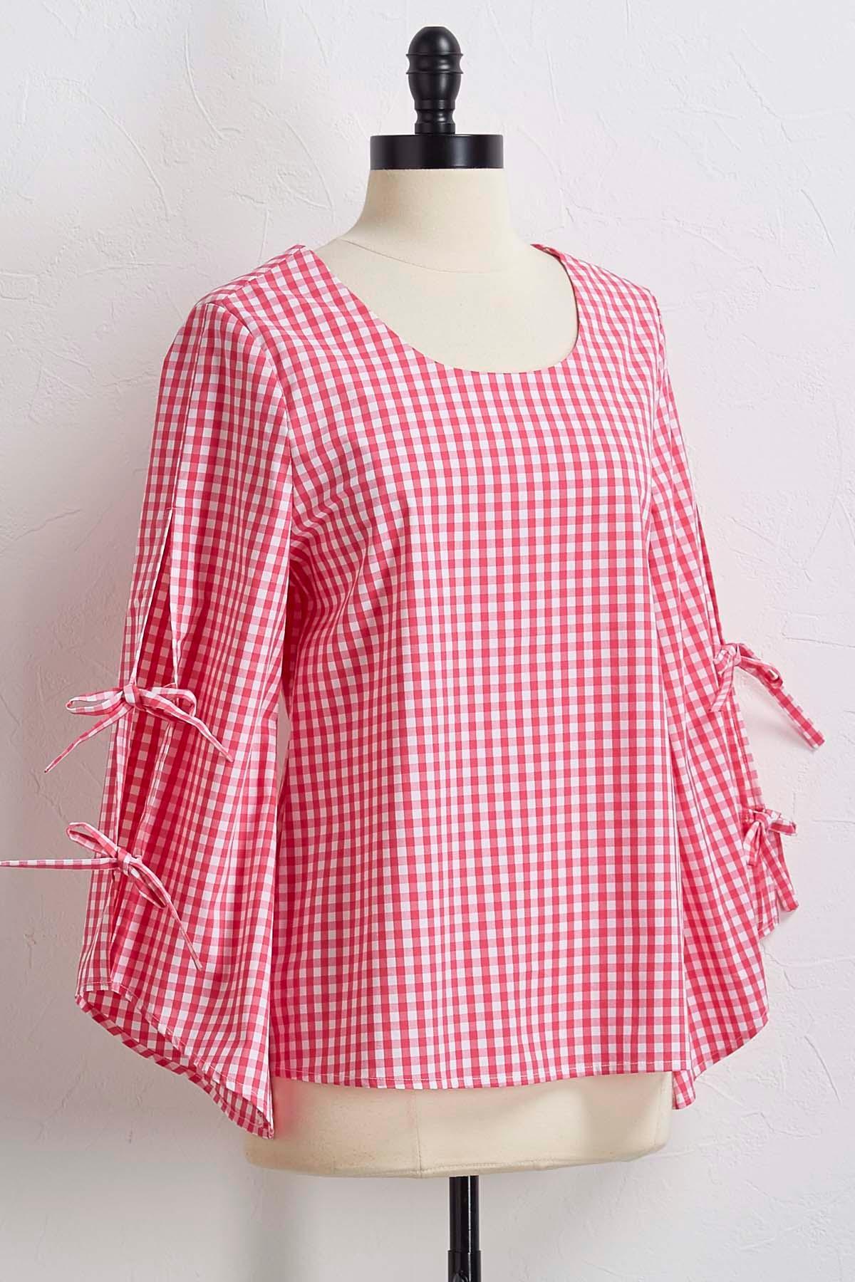 Pink Gingham Tie Sleeve Top
