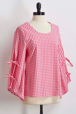 pink gingham tie sleeve top