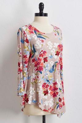 multi-floral hanky hem top