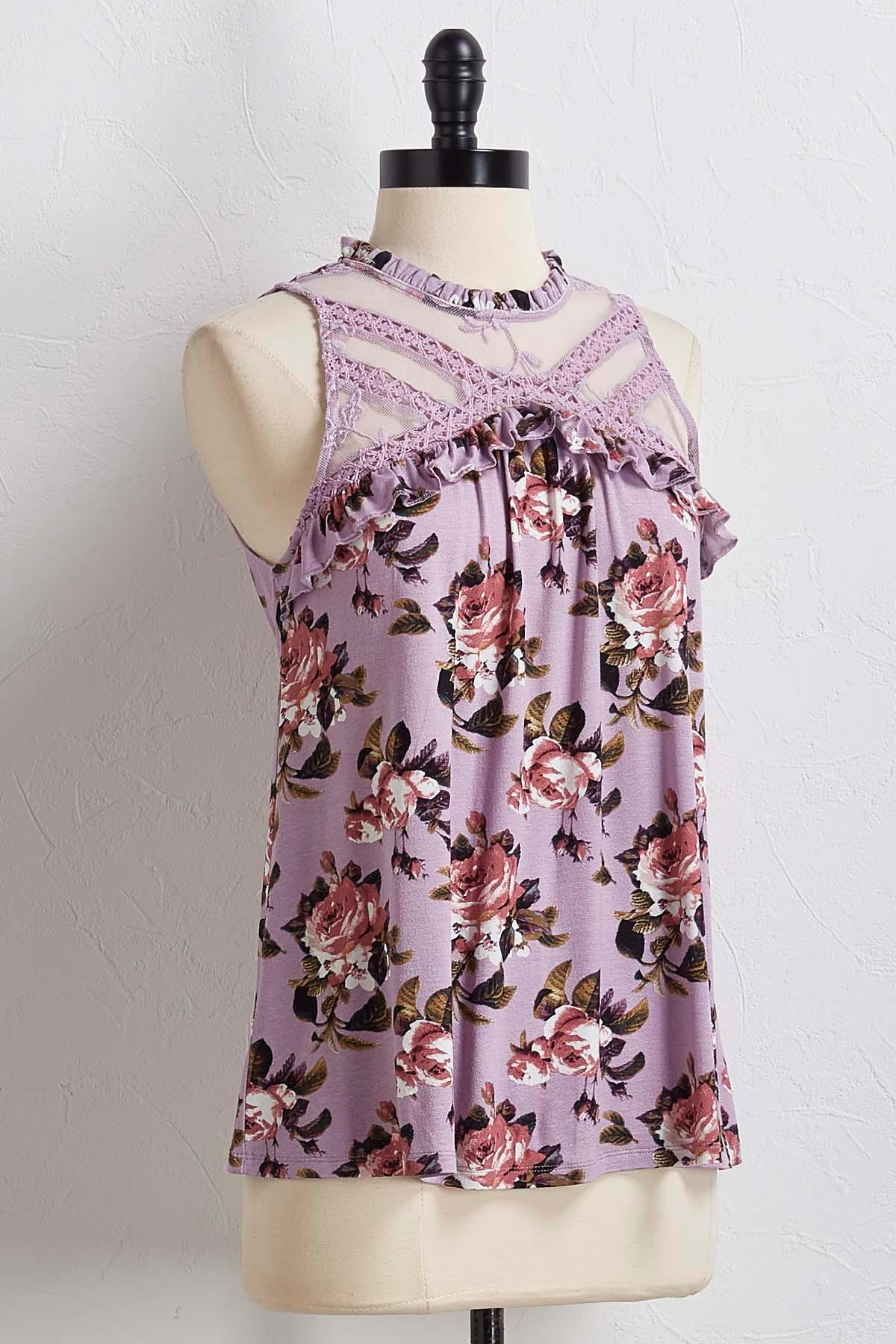 Floral Ruffled Lace Tank