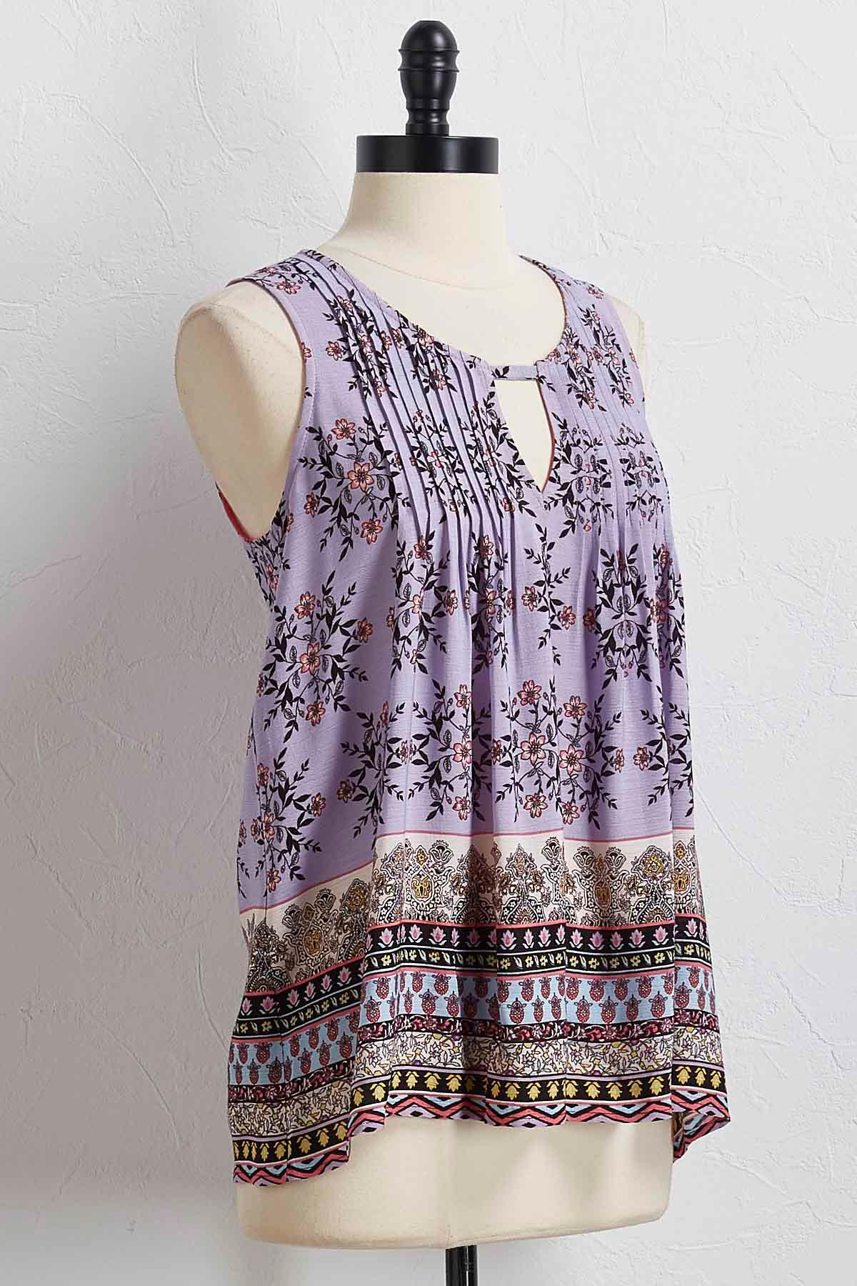 Pleated Purple Floral Top