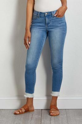 frayed hem ankle jeans