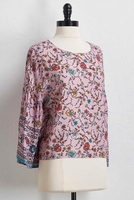 vine floral bell sleeve top
