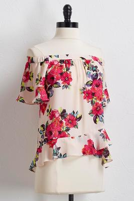 bright rose off the shoulder top