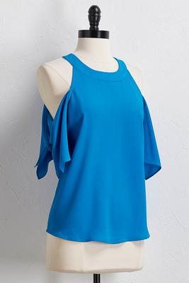 tie sleeve bare shoulder top