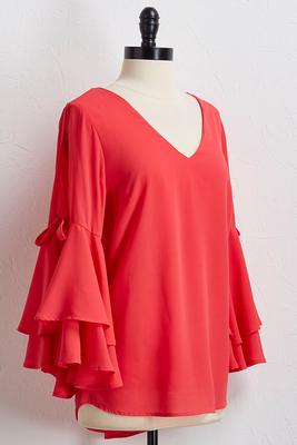 tiered tie slit sleeve top
