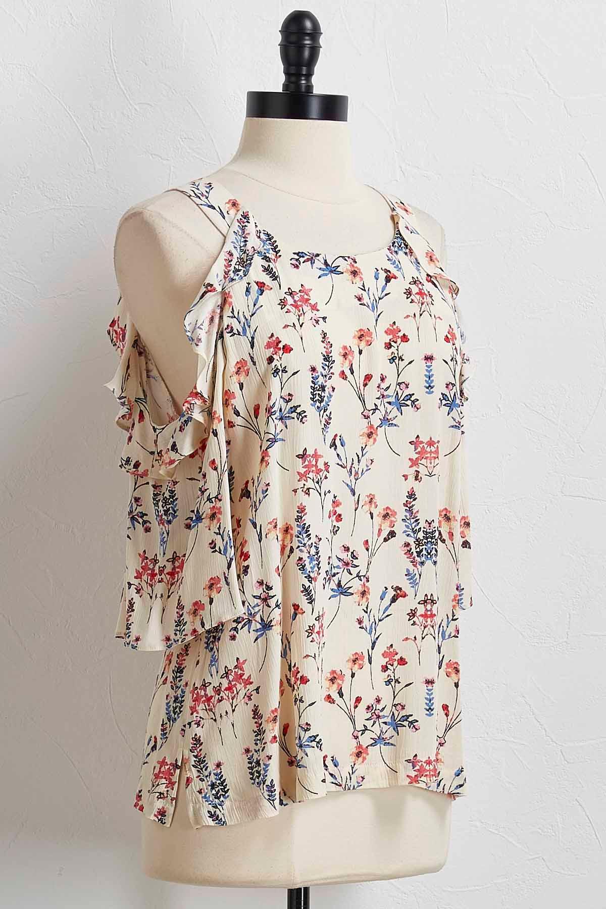 Floral Ruffled Bare Shoulder Top