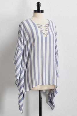 striped lattice neck poncho top