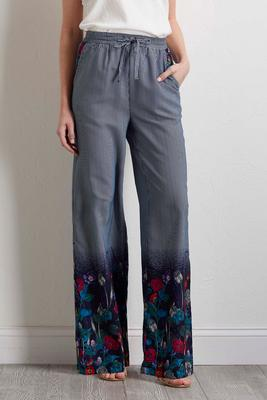 navy floral stripe palazzo pants