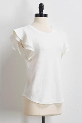 textured flutter sleeve skimmer top