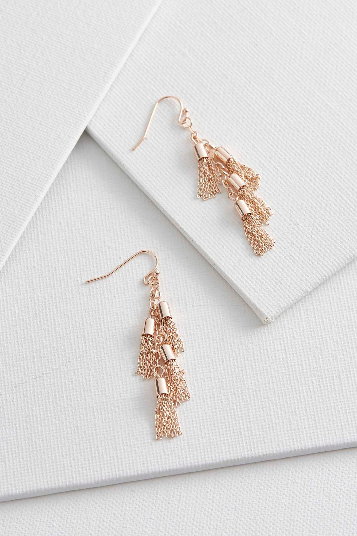 Dangling Chain Tassel Earrings